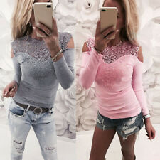 Sexy Womens Long Sleeve Lace Patchwork Tops T-shirt Casual Slim Blouse Pullover