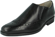 MENS CLARKS AMIESON SLIP BLACK LEATHER SLIP ON PUNCH DETAIL BROGUE SMART SHOES