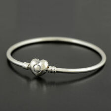 Authentic Genuine Pandora Sterling Silver Heart Clasp Bangle Bracelet - 596268