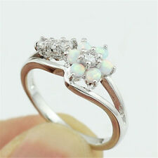 925 Silver Flower Withe Opal Women Wedding Anniversary Gift Ring Size 6-10
