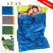 "Huge Double Sleeping Bag 23F/-5C 2 Person Camping Hiking 86""x60"" W/2 Pillows OY1"