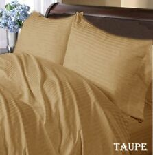 1000 TC 100%Egyptian Cotton Complete Bedding Collection US-Size Taupe Stripe