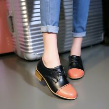 Chic Womens Stitching Med Block Heels Pumps Oxfords Lace Up Shoes Formal