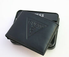 Black New GUESS Men's passcase Genuine Leather Wallet,