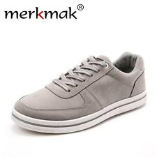 Merkmak Spring New 2017 Casual Shoes Men Leather Shoes Mens Leisure Lace-up Flat