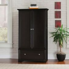 Wardrobe Armoire Black Wood 2 Doors Storage Large Drawer Bedroom Cabinet Closet