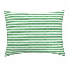 Salted Watercolor Stripes Green Green Cotton Pillow Sham by Roostery
