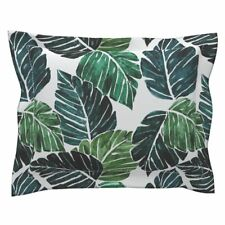 Monstera Leaves Green Tropical Cotton Pillow Sham by Roostery