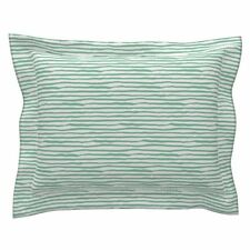 She Is Fierce Green Stripes Green Stripes Cotton Pillow Sham by Roostery