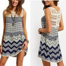 Women Summer Boho Casual Sleeveless Evening Party Cocktail Lace Short Mini Dress