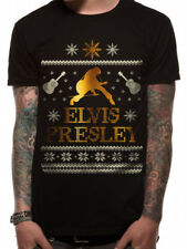 Elvis Presley Official Christmas Unisex Black T-Shirt Mens Womens Rock And Roll