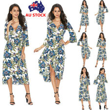 Plus Women Summer Floral V Neck Wrap Dress Evening Party Beach Long Maxi Dress