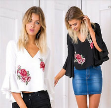 Women Lady V-neck Backless Embroidery Flare Sleeve Loose Casual Blouse Shirt Top