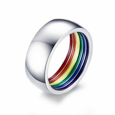 Gay Lesbian LGBT Pride Ring Stainless Steel Rainbow Inner Striped Ring Band Hot