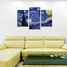 READY TO HANG CANVAS Starry Night Vincent Van Gogh 3 Panels For Home Decor