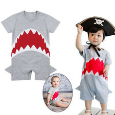 Infant Baby Boys Shark Short Sleeves Cute Romper Jumpsuit Cotton Outfits Clothes
