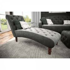 Chaise Lounge Chair Gray Upholstered Tufted Velvet Rest Leisure Couch Furniture