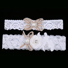 Wedding Bridal Floral White Lace Garter Set Keepsake Toss Party Accessories