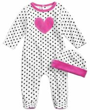 NWT Infant Girl 2 pc Hat & Heart Footed Sleeper Set Size 0-3 months, 3-6 months