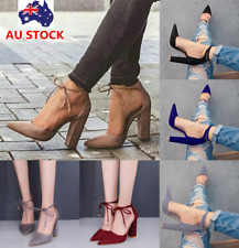 Women Block High Heel Pointed Toe Ankle Strap Sandals Party Lace Up Pump Shoes