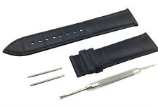 Black Genuine Leather Strap/Band fit BREITLING Watch Clasp 18 19 20 21 22mm