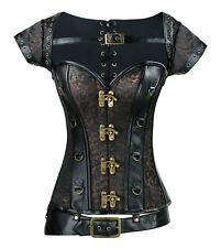 Steampunk Gothic Heavy Steel Boned Leather Halloween Corset with Jacket & Belt