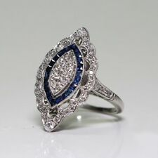 Newly 925 Sliver White Topaz & Sapphire Wedding Engagement Ring Party Sz6-10