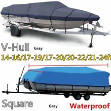 17-20Ft 600D Heavy Duty Waterproof Trailable Fish Ski Boat Cover V-Hull Beam WN