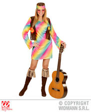 Womens Ladies Funky Hippie Rainbow Fancy Dress Costume 1970S Hippy Outfit