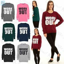 Womans Ladies Gym Oversized Workout Print Long Sleeves Jumpers Sweatshirts Tops