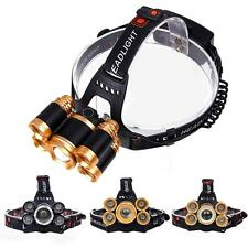 Zoomable CREE 5X LED 80000 Lumens USB Headlamp 4 Modes 2X18650 Battery Lamp 0ナ