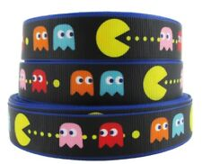 "PAC-MAN Arcade Game Logo 1"" Wide Repeat Ribbon Sold in Yard Lots"