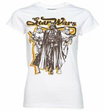 Official Women's White Retro Star Wars Darth Vader And Stormtroopers T-Shirt