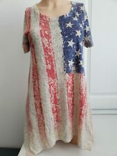 SeXy VoCal Flag Patroit Crystals Stones Red White Blue Tunic Top Shirt S M L XL