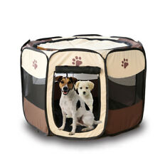 Portable Pet Kennel Oxford Large Dog Cat Playpen Tent Fence Cage Crate Exercise