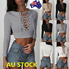 Women Deep V Neck Cross Lace Up Long Sleeve Shirt Casual Silm Crop Tops Blouse