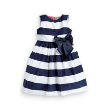 Baby Kid Girls Sleeveless One Piece Dress Blue Striped Bowknot Tutu Dresses