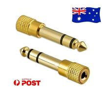 3.5mm Socket to 6.5mm Male Jack Plug Audio Stereo Adaptor Gold Headphone Adapter