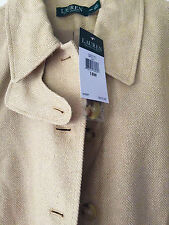 NWT RALPH LAUREN Beige Tan Silk Linen Four-Button Blazer Jacket Plus $315