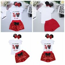 3Pcs Infant Baby Girl Cute Outfit Short Sleeves Tops+Sequins Shorts+Headband Set