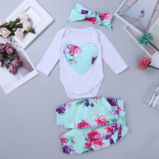 Toddler Girl Baby Floral Romper Jumpsuit Bodysuit +Pants Headband Outfit Set