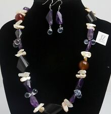 """Freshwater Pearls, Amethyst & Onyx 21"""" Necklace & Matching Amethyst Earrings"""