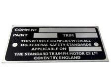 Brand New Quality Anodized Commission/Data Plate Triumph Spitfire /TR/ Gt6/