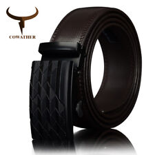 GENUINE LEATHER | Men's Automatic Buckle belt with Cow  BLACK BROWN Belts