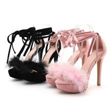 Sexy Women's Furry Sandals Shoes Peep Toe Cross Strappy Super High Heel Club New
