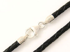 "3mm Black Briaded Bolo Leather Cord Necklace 925 sterling Silver Clasp 32"" NYC"