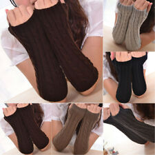 HK- Women's Fashion Long Knitted Crochet Fingerless Braided Arm Warmer Gloves Ch