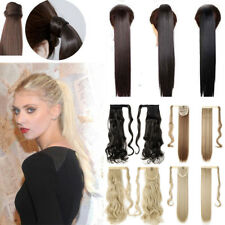 Womens Clip in Thick Wavy Curly Long Ponytail Horsetail Wrap On Hair Extensions