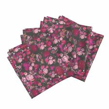Pink Roses Pink Floral Antique Floral Cotton Dinner Napkins by Roostery Set of 4