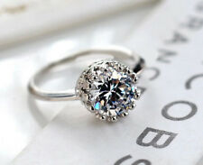 Ring Engagement Silver Cz Wedding Cut 925 Sterling Women Band Round Princess
